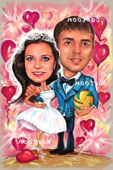 Свадебный шарж с оригинальным сюжетом в Севастополе!