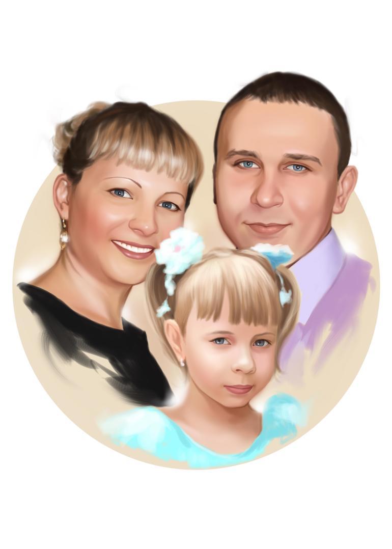 Семейный портрет по фото на холсте в Севастополе — правильный подарок!