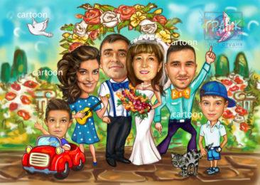 Шарж по фото на годовщину свадьбы на заказ в Севастополе…